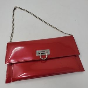 Bejio bright red plastic with silver tone bag